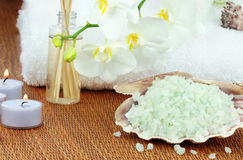 Bath  Salts and Candles Royalty Free Stock Photography