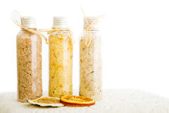 Bath salts with dried organge. Bath salts with slices of dried orange and lime Royalty Free Stock Photography