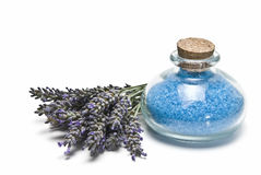 Bath salts and fresh lavender. Royalty Free Stock Image