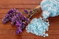 Bath salts with lavender Stock Photo