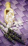 Bath salts with lavender flowers Royalty Free Stock Photo