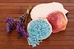 Bath salts with lavender scent Royalty Free Stock Images