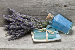 Bath salts and lavender soap. Royalty Free Stock Photography