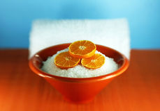 Bath salts and orange Royalty Free Stock Photos
