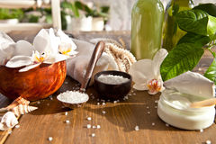Bath salts and other skin care products Stock Photos