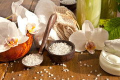 Bath salts and other skin care products royalty free stock image