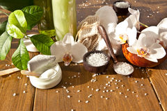 Bath salts and other skin care products royalty free stock photos