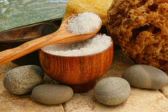 Bath salts with river rocks and sponges Stock Images