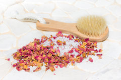 Bath salts and rose petal potpourri Stock Photo