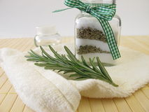Bath salts with rosemary Royalty Free Stock Photos