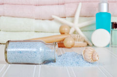 Bath salts with shell Royalty Free Stock Photos