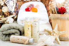 Bath salts, soap and towels Royalty Free Stock Photo