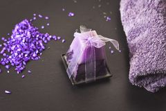 Bath salts. Spa still life with candles, Bath salts and lavender Stock Photo