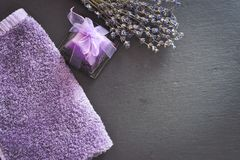 Bath salts. Spa still life with candles, Bath salts and lavender Royalty Free Stock Photography