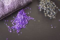 Bath salts. Spa still life with candles, Bath salts and lavender Royalty Free Stock Photos