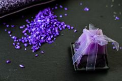 Bath salts. Spa still life with candles, Bath salts and lavender Stock Images
