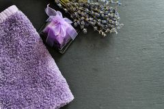 Bath salts. Spa still life with candles, Bath salts and lavender Stock Photography