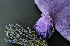 Bath salts. Spa still life with candles, Bath salts and lavender Royalty Free Stock Image