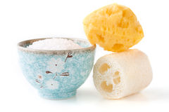 Bath salts and sponge. Bath salts in bowl and sponge Stock Images