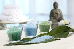Bath salts to banana leaf with Buddha Stock Photo