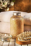 Bath salts with towels Royalty Free Stock Images
