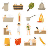 Bath Sauna Spa Flat Icons Set Royalty Free Stock Photos