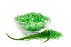 Bath sea salt with aloe. For relaxation on white background Royalty Free Stock Images