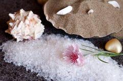 Bath sea salt on black granite flooring tiles stock images