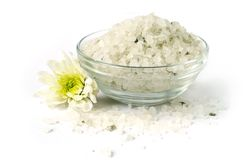 Bath sea salt with flower. For relaxation on white background Stock Photography