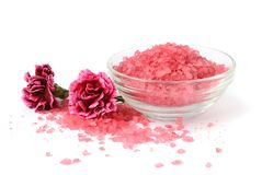 Bath sea salt with flowers. For relaxation on white background Royalty Free Stock Photography