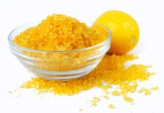 Bath sea salt with lemon. For relaxation on white background Stock Photos