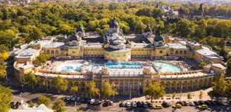 Bath Sections taken from a height by a drone. Aerial shot of swimming pool Gellert spa and bath Budapest, Hungary. Aerial view royalty free stock photo