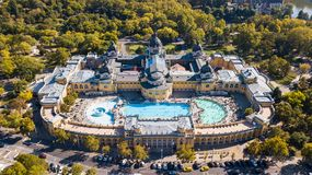 Bath Sections taken from a height by a drone. Aerial shot of swimming pool Gellert spa and bath Budapest, Hungary. Aerial view stock photos
