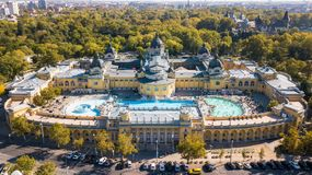 Bath Sections taken from a height by a drone. Aerial shot of swimming pool Gellert spa and bath Budapest, Hungary. Aerial view stock image
