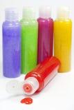 Bath set colorful peeling bottle closeup Stock Photos
