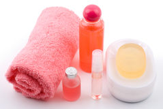 Bath set and essential oil. On white background Stock Image