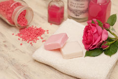 Bath set. With soap, bath salt and towel Royalty Free Stock Image