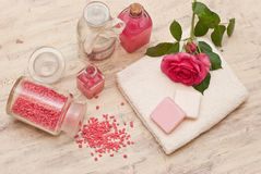 Bath set. With soap, bath salt and towel Royalty Free Stock Images