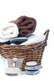 Bath set, towels, stones, candle Royalty Free Stock Photo