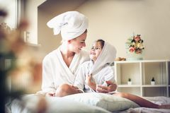 After bath we share love to etch other. Mother and daughter. royalty free stock photo