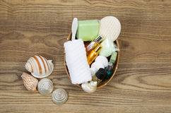 Bath and Shower Accessories in Basket Royalty Free Stock Photos