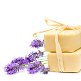 Bath soap and lavender Royalty Free Stock Image