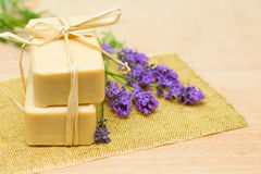 Bath Soap and Lavender - Spa Treatment Royalty Free Stock Image