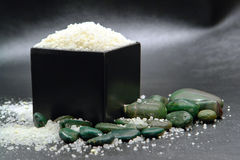 Bath Soap Salts in Black Box with Green Rocks Royalty Free Stock Photos