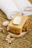 Bath soap and towels Stock Image