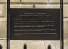 Bath, Somerset, UK, 22nd February 2019, Memorial plaque to site where Mary Shelley wrote Frankenstein royalty free stock photo
