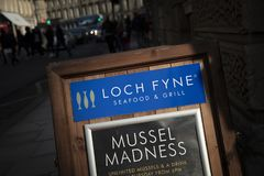 Bath, Somerset, UK, 22nd February 2019, Shop Sign for Loch Fyne seafood and grill restaurant stock image