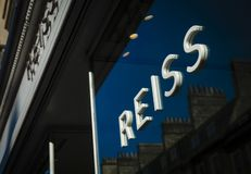 Bath, Somerset, UK, 22nd February 2019, Shop Sign for Reiss royalty free stock photo