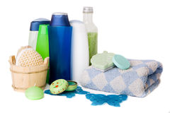 Bath and Spa Accessories. Bath items including sponge, soap, towel, salt and shapoo over white stock photography