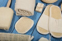 Bath and spa accessories. On blue wooden background Stock Images